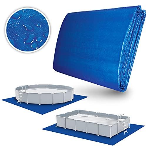 tillvex Pool Bodenplane 396 x 396 cm quadratisch für Pools bis Ø 366cm | Poolunterlage UV-Stabil & reißfest | Bodenschutzplane Swimmingpool