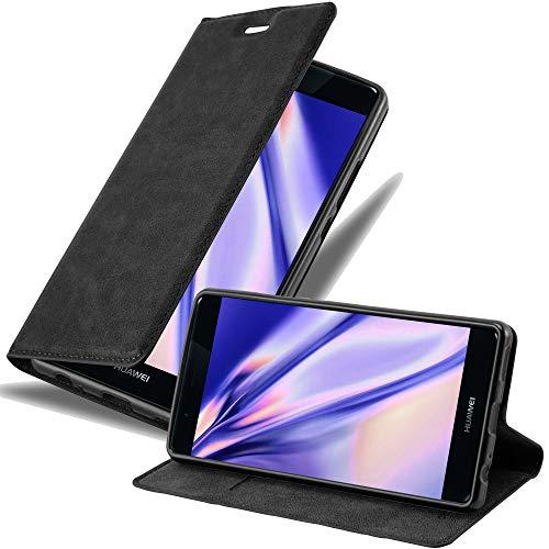Cadorabo Hülle für Huawei P9 Plus - Hülle in Nacht SCHWARZ – Handyhülle mit Magnetverschluss, Standfunktion & Kartenfach - Hülle Cover Schutzhülle Etui Tasche Book Klapp Style