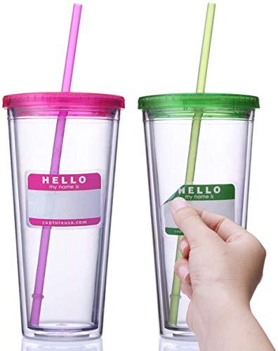 GLURIZ 2 pack 720ml Vasos acrilico Doble Pared con Tapa y Pajita de acrilico, Doble Aislamiento Tapa enrroscable Anti Fugas para Bebidas frias infusiones y Batidos - sin BPA (2pack...