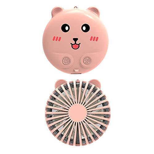 DDXI Mini ventilador, ventilador con espejo de maquillaje, portátil plegable portátil pequeño ventilador recargable, ajuste de viento de dos velocidades, de tres colores de maquillaje espejo regulable