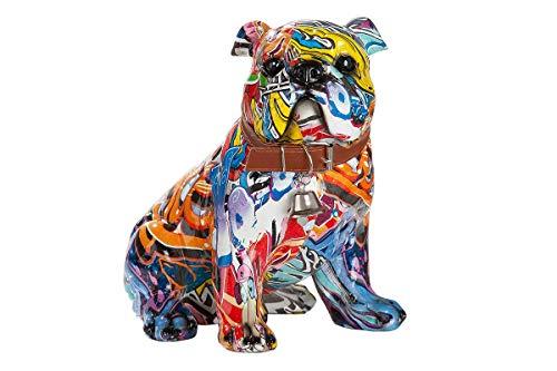Dreamlight Moderne Skulptur Dekofigur Mops Hund POP Art aus Kunststein Mehrfarbig 22x23 cm