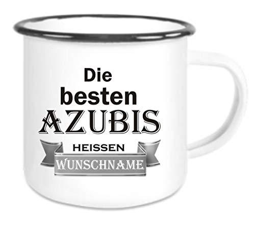 Crealuxe Emailletasse m. Wunschname Die besten Azubis heißen (Wunschname) - Kaffeetasse mit Motiv, Bedruckte Tasse mit Sprüchen oder Bildern