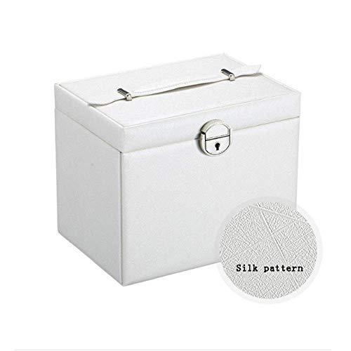 Joyery Organizer Caja de joyería de gran capacidad Caja de cuero de cinco capas Caja de almacenamiento Joyería Multilapa Joyería Caja de almacenamiento para niñas Madre Mujeres (Color: Negro, Tamaño: