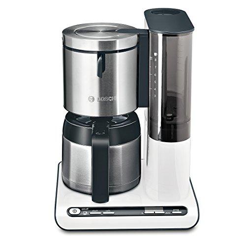 Bosch TKA8651 Styline Filterkaffeemaschine, Thermokanne, autom. Anpassung Brühzeit, abnehmbarer Wassertank (1 L), 1100 W, weiß