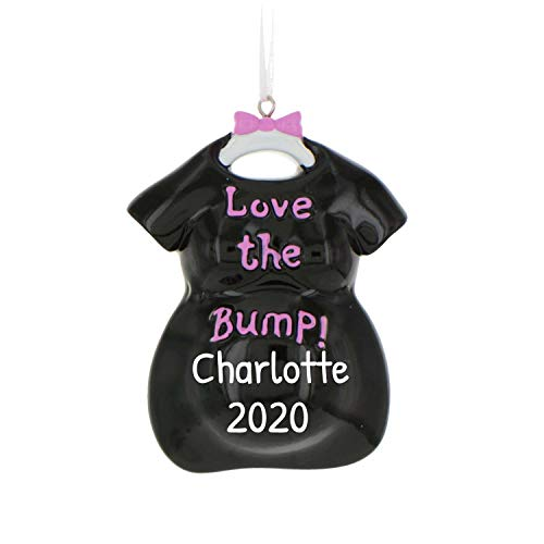 Personalized Love The Bump Christmas Tree Ornament 2020 - Black Expecting Pregnant Mom to Be Dress on Hanger Bow New Baby Coming Shower Boy Girl Gender Neutral Gift Year - Free Customization