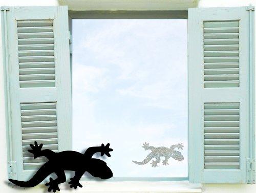 Fenstertattoo selbstklebend ~ Geko, Gecko ~ glas032-10x5 cm 61005 Aufkleber für Fenster, Glastür und Duschtür, Glasdekor Fensterbild, wasserfeste Glasdekorfolie in Sandstrahl - Milchglas Optik, Gekko, Reptil