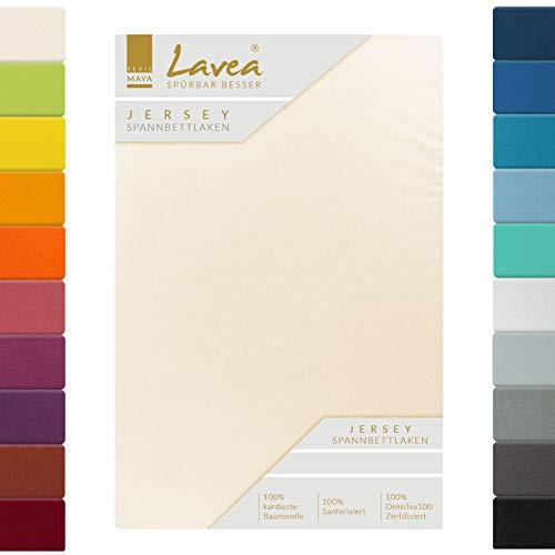 Jersey Spannbettlaken, Spannbetttuch, Lavea Serie Maya, 120x200cm, Creme Naturweiß, 100% Baumwolle, hochwertige Verarbeitung, mit Gummizug
