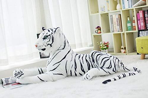 30-120 CM Pantera de Leopardo Negro Gigante Tigre Blanco Amarillo Juguetes de Peluche Animal de Peluche muñeca de Almohada de Moda para niños 60cm Whitetiger
