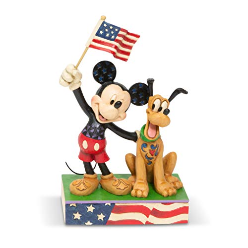 Disney Traditions, Figura de Mickey Mouse y Pluto con bandera de Estados Unidos, Para coleccionar, Enesco
