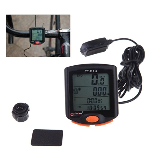 KKmoon YT-813 Sensores importados LCD retroiluminado velocímetro bicicleta odômetro computador à prova de chuva
