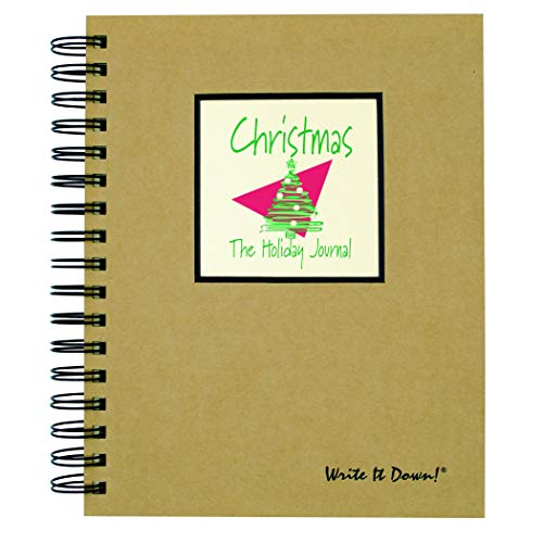 """Journals Unlimited """"Write it Down!"""" Series Guided Journal, Christmas, The Holiday Journal, with a Kraft Hard Cover, Made of Recycled Materials, 7.5""""x 9"""""""