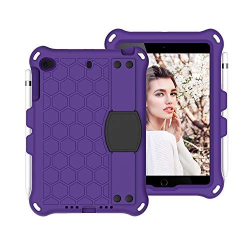 Tablet Protective Case For For Kids Case for iPad Mini 5 4 3 2 1,Lightweight and Full-Body Shockproof EVA+PC Tablet Case,Rugged Duty, Shockproof,Hand Grip, Shoulder Strap (Color : Purper+Black)