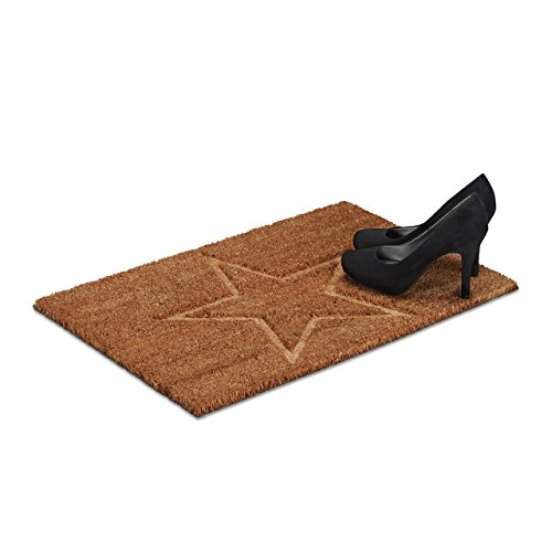 Relaxdays Fußmatte Stern aus Kokos, H x B x T: 1,5 x 60 x 40 cm, 3D, rutschfest, rechteckig, Kokosfaser, Gummi, natur