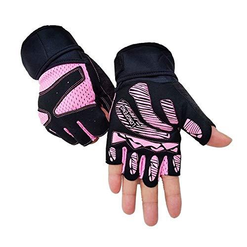 Mcttui Gants Tactiques Gants Airsoft Hommes, Gants Fitness Femme Demi-Doigt Sport Homme équitation antidérapante Cocoon Poignet Équipement de Formation de Yoga (Color : Pink, Size : XL)