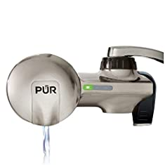 PUR horizontal faucet water filtration system with stainless steel finish