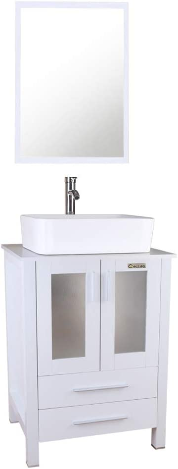 Buy 24 White Bathroom Vanity With 2 Draweres W Mirror Set Square Ceramic Sink Combo Chrome Faucet Bathroom Vanity Top Mount Installation Ceramic Vessel Sink Online In Turkey B07pm45n72