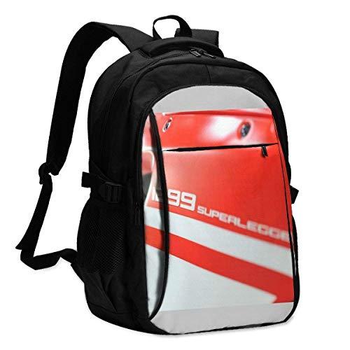 BGDFN Ducati 1299 Superleggera Stampa 3D con zaino USB, borsa da scuola, borsa da viaggio, borsa da alpinismo