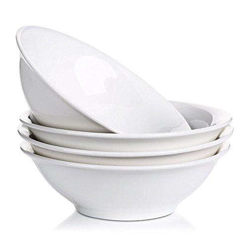 LIFVER Müslischale Groß 1300 ml, Salatschüssel Porzellan, Ramen Schüssel, Suppenteller Groß Tief, Suppenschale, Porzellan Schüssel Set, Teller Tief für Pasta, Nudel, Suppen, Speise, Weiß, 4 Stück