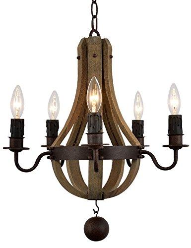 lgoodl Schmiedeeisen Kronleuchter Vintage Kronleuchter Beleuchtung Holz Holz & Rost Metall Deckenleuchte Anhänger Beleuchtung mit Kerze 5/6/8Lichter, UL Listed Modern 5Heads rust