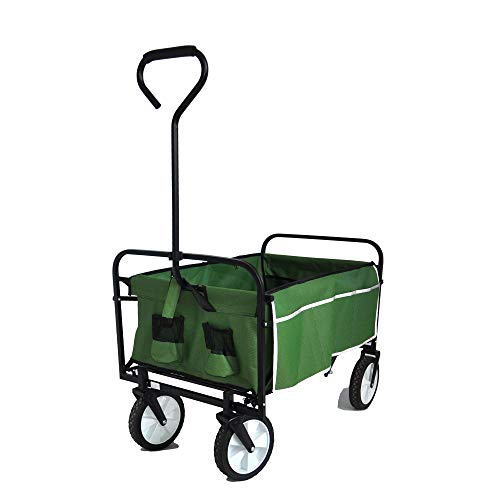 STERXONE Best Outdoor Collapsible Utility Wagon with Wheels Heavy Duty, Folding Utility Wagon Cart with Drink Holder and Rubber Wheels for Beach, Garden, Sports, Camping, Adjustable Handle (Green)