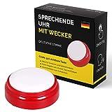Sprechende Uhr mit deutscher Stimme für Senioren, Sehbehinderte, Blinde oder Menschen mit Alzheimer - Geschenkidee für Großeltern, Vater, Mutter – ältere Menschen Wecker