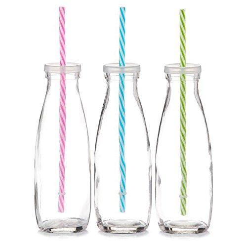 6x Zeller Trinkflasche, 475 ml, mit Deckel und buntem Strohhalm, Gläser-Set, Glasflasche