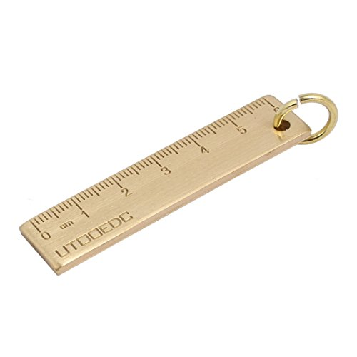 sourcing map Appareil mesure portatif laiton Outil EDC 6cm Échelle règle porte-clés mini