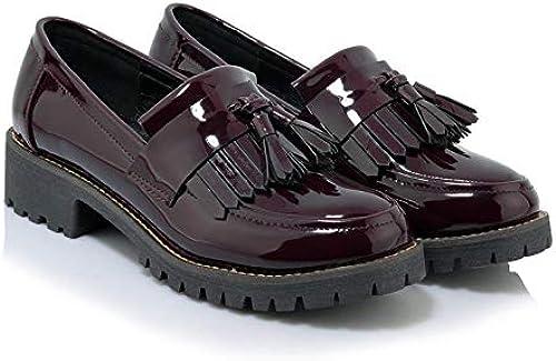 HOESCZS Talons Hauts épais Et Plat Singles Femmes De La Mode Chaussures Collège Vent Japonais Arc Grande Taille Petite Chaussures Mode Chaussures De Femmes