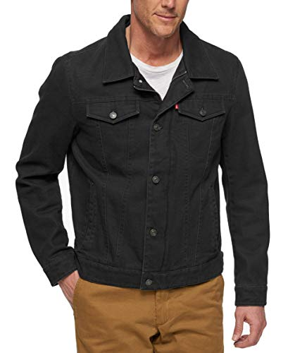 Levi's Men's Cotton Canvas Laydown Trucker Jacket, black, Medium