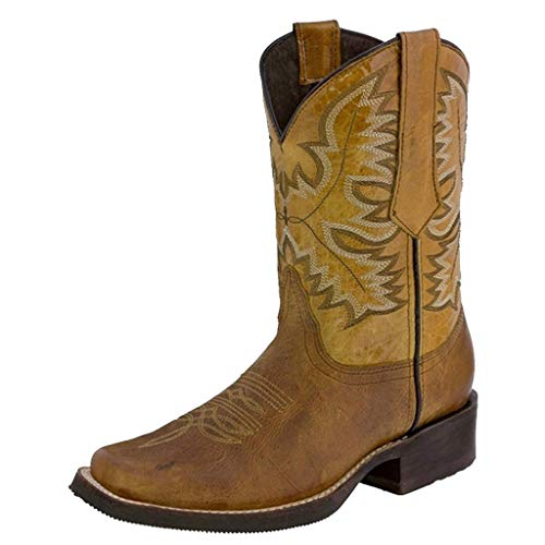 Scarpe Stivali da Cowboy Occidentali a Tacco Basso in Pelle Antiscivolo con Punta Tonda (40,Giallo)