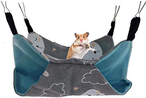 Family in Hamster Hängematte - Hängebrücke Kleintiere Hängematte Hamster Haus Zum Aufhängen Doppelschicht Segeltuch Hängematte Kleines Haustier Baumwolle Nestkäfig Zubehör (Grauer Bär 34 * 34)