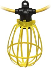 100-Foot Outdoor Yellow Commercial Contractor-Grade 10 Socket Plastic Cage String Lights