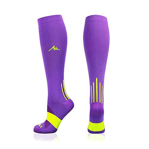 NEWZILL Compression Socks (20-30mmHg) for Men & Women (Purple, Small)