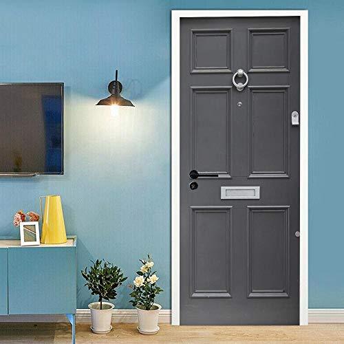 APAJSG Pegatinas Puertas Interiores 3D Vinilo Autoadhesivo Adhesivos para puertas Dormitorio decoración del hogar Cartel 95x215 cm Puerta gris
