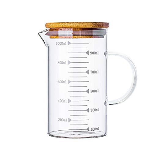 JAOMON Taza Medidora de 1 Litro Medidora Vidrio, Vaso de Precipitados de Vidrio, Vaso de Precipitados de Vidrio, Escala de Litros, Recipiente Medidor Transparente, 16,4 * 11,5 cm