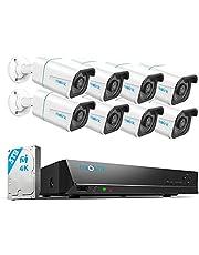 【2021 Nieuw】Reolink 4K PoE H.265 CCTV Camera Systeem, 8 stuks 8MP Persoon/Voertuig Opsporing Smart Wired Buiten PoE IP Camera's met 16CH NVR met 3TB HDD voor 24/7 Nightvision Opnamens, Waterproof, RLK16-810B8-A