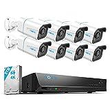 Reolink 4K Kit Videosorveglianza IP PoE, Intelligente Rilevamento di persone e veicoli, 16CH 3TB NVR e Otto...