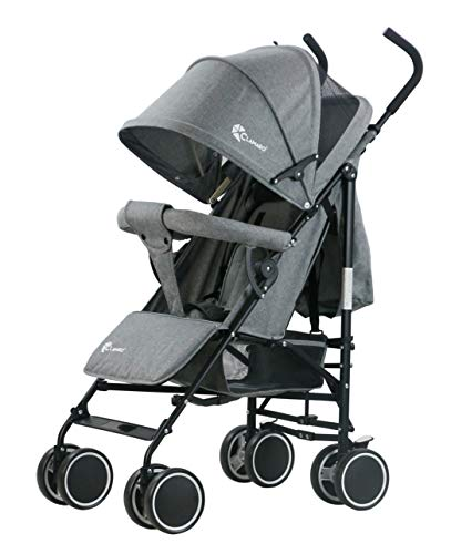 Clamaro \'Balu\' superleichter Kinderwagen kompakt Buggy (6,5 kg) mit Liegefunktion, klein zusammenklappbar, Rückenlehne stufenlos verstellbar bis Liegeposition - grau leinen