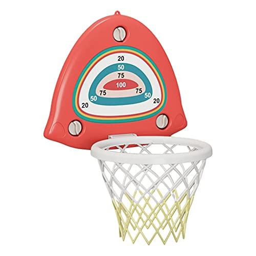 Hellery Aro de Baloncesto para niños, Interior, Mini Red de Baloncesto, Cesta Colgante, aro, Tablero, Juguetes, Juego, Tablero, Juguete con Pelota y Bomba, - Rojo