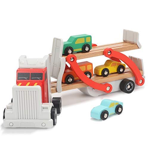 TOP BRIGHT Autotransporter Spielzeug Holz, LKW Spielzeug mit Anhänger und 4 Holzautos, Autos Spielzeug 2 3 Jahre Jungen Geschenk