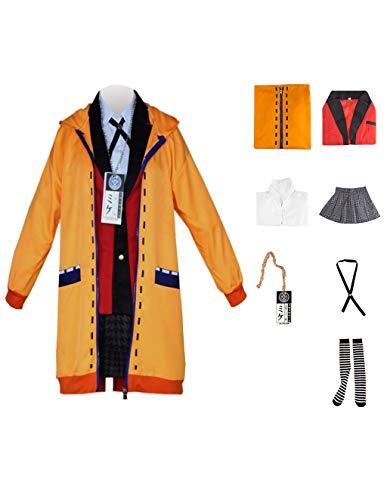 KIACIYA Kakegurui Cosplay Uniform, Kakegurui Uniform Runa Yomozuki Kostüm, Anime Cosplay Kakegurui Runa Kostüm, Twin Jabami Yumeko Yumemi Yumemite Halloween Kostüm für Damen Mädchen mit Perücke (B,S)