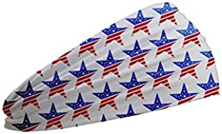 Shimmer Anna Shine Red White and Blue Patriotic American Flag Headband USA (Red White and Blue Star Workout Sports Headband)