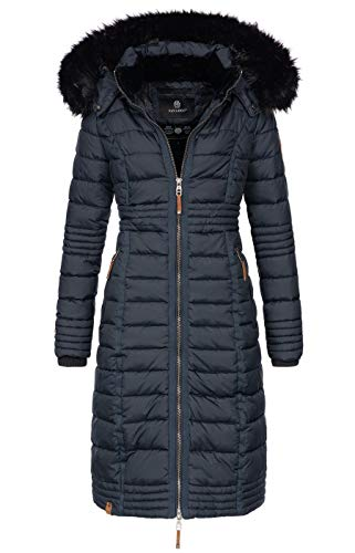Navahoo Damen Wintermantel Mantel Steppmantel Winter Jacke lang Stepp warm Teddyfell B670 [B670-Uma-Navy-Gr.XL]