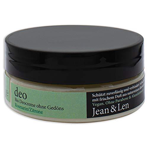 Jean & Len Bio Deocreme Rosmarin-Zitrone Schwarzer Glastiegel, 85 ml, 1 Stück