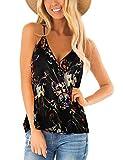 Womens Floral Strappy Tank Tops Drape Wrap Sleeveless Shirts Loose Casual Cami Tees Black XL