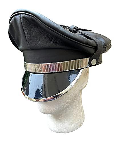 italianboy2018 - Cappello da motociclista in pelle fetish, taglia 58, 59, 60 Nero  59