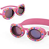 Aegend Kids Swim Goggles, 2 in 1 Polarized Swimming Goggles & Sunglasses for Age 4-16 , Clear Vision, Soft Silicone, No Leak, UV Protection, Anti-Fog, Free Protection Case, Pink