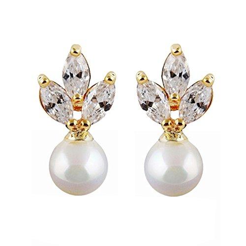 YAZILIND 18K Elegantes Vergoldet plattiert Zirkonia nachgemachte Perlen schöne weiße Blatt Bolzen Ohrringe für Frauen