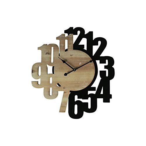 Rebecca Mobili Orologio Moderno, Orologi Da Parete, Mdf, Nero Marrone, Numeri Grandi, Per Sala Cucina - Misure: 56,5 x 50 x 4,5 cm (HxLxP) - Art. RE6568