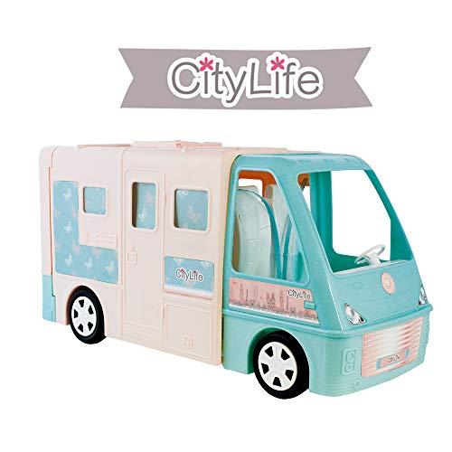ODS-44403 ODS CityLife Camper con Accessori, Colore Rosa, Verde Acqua, 44403